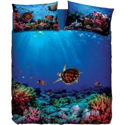 Complete Duvet Cover Set Bassetti Imagine Deep Dream Sea Turtle