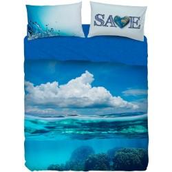 Complete Parure De Draps Bassetti Imagine Save Mer Océan Nuages V1