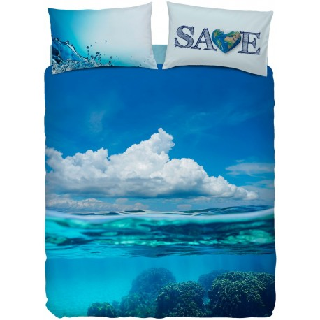 Complete Duvet Cover Set Bassetti Imagine Save Sea Ocean Clouds V1