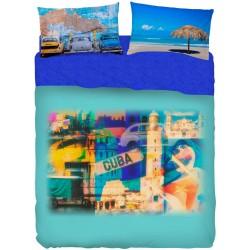 Completo Letto Bassetti Imagine Havana Cuba Taxi Spiaggia