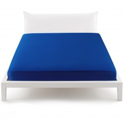 Fitted Sheet Percale Bassetti In Tinta Perfetto With Releaseable Angles Blue Baltic