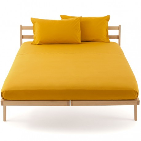 Bassetti's In Tinta Percale Fitted Sheet With Perfetto® Releaseable Elastic Corners Yellow Mustard V1441