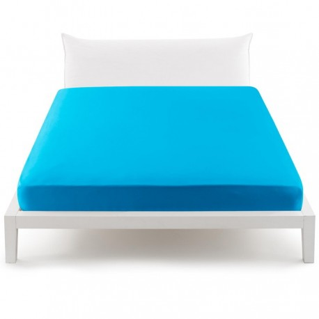 Bassetti's In Tinta Percale Fitted Sheet With Perfetto® Releaseable Elastic Corners Azure Ceramic V3330