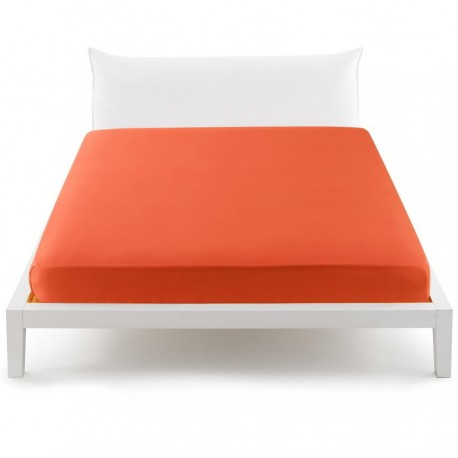Bassetti's In Tinta Percale Fitted Sheet With Perfetto® Releaseable Elastic Corners Orange V1930