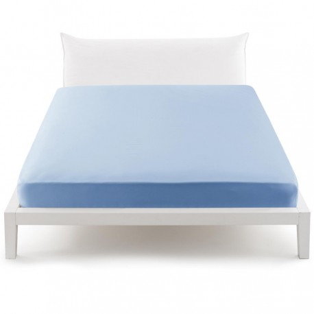 Bassetti's In Tinta Percale Fitted Sheet With Perfetto® Releaseable Elastic Corners Azure Sky V3320
