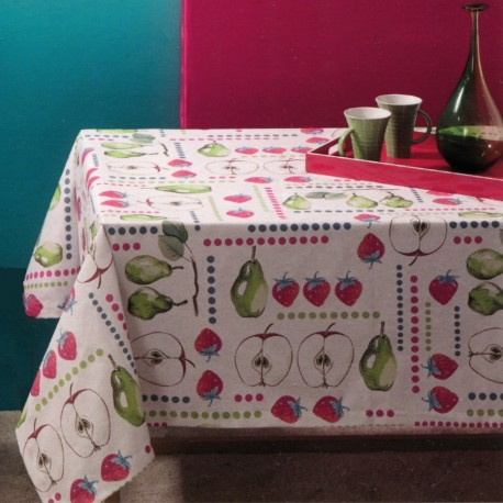 Tablecloth Bassetti Always-Clean Stain-Resistant Apples Strawberries Pears Col.V1-30079