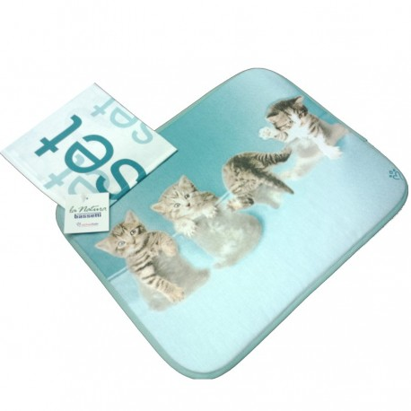 American Set Bassetti Double Face With Napkin Cats Team V1