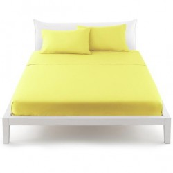 Drap Plat Bassetti Magic Jaune Citron Avec Bordécor Blanc