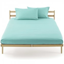 Fitted Sheet Bassetti Turquoise Blue With Perfetto Releaseable Elastic Corners