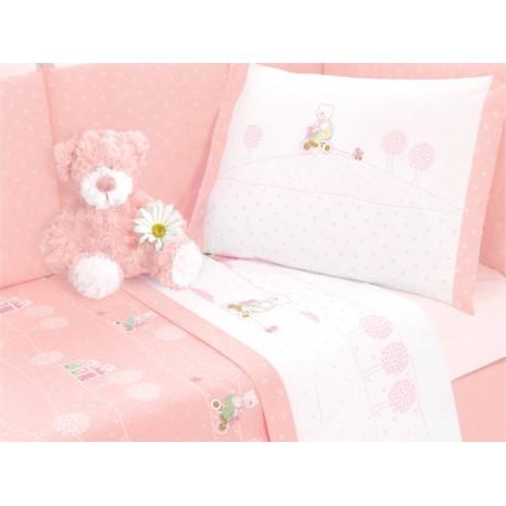 Complete Sheet Set Gabel Carosello Teddy Bear Pink 13125