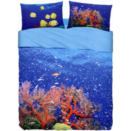 Completo Letto Copriletto Bassetti Imagine Deep Sea V1