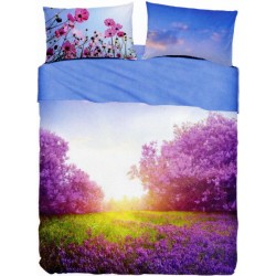Completo Letto Copriletto Bassetti Imagine Purple Summer V1