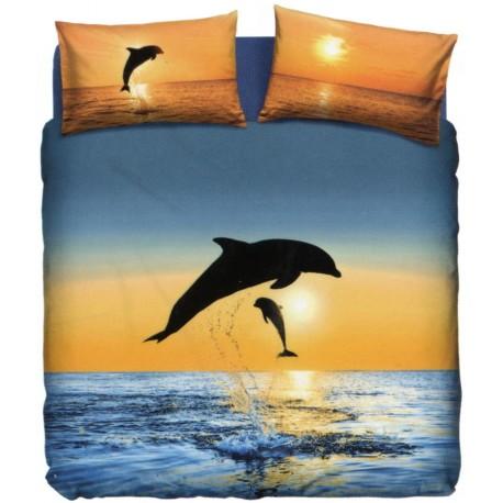 Completo Letto Copripiumone La Natura Bassetti Dolphins At Sunset V1