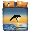 Complete Duvet Cover Set Bassetti La Natura Dolphins At Sunset