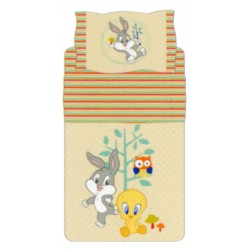Complete Sheet Set Bassetti Kids Tweety and Bugs Bunny Nature Fantasy Beige