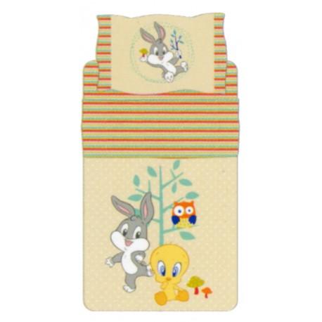 Complete Parure De Draps Bassetti Kids Titi et Bugs Bunny Nature Fantasy V6 Beige