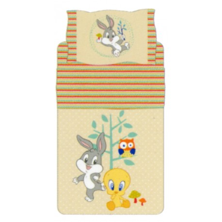 Complete Bedcover Sheet Set Bassetti Kids Tweety And Bugs Bunny Nature Fantasy V6 Beige
