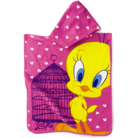 Poncho Embroidered Tweety Bassetti Kids Baby Sky V1