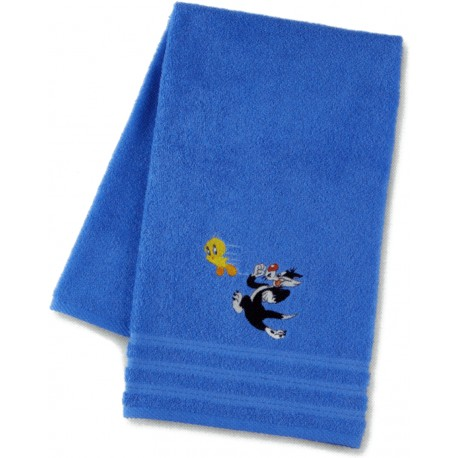 Terrycloth Towel Embroidered Sylvester The Cat And Tweety Bassetti Kids Run Away V1