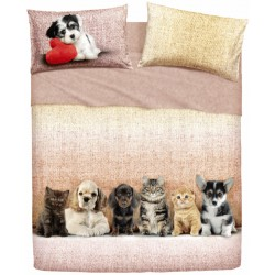 Complete Sheet Set Bassetti Extra Special Edition Cats With Cocker Spaniel, Dachshund Pups And Shih Tzu