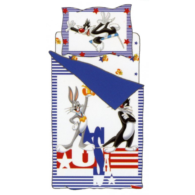 Completo Copripiumino Bassetti Titty Silvestro Bugs Bunny Usa Singolo