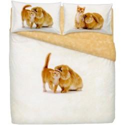 Complete Duvet Cover Set Bassetti La Natura Snuggling Cat And Rabbit