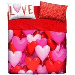 Completo Letto Bassetti Imagine Love Party Cuori Palloncini