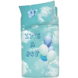Completo Copripiumino Bassetti Imagine Little Baloon Azzurro Palloncini