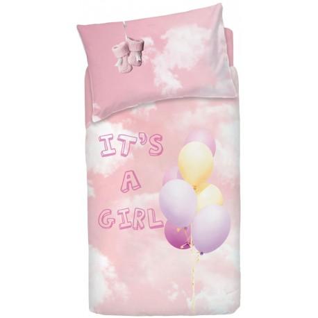 Completo Copripiumino Bassetti Imagine Little Baloon Rosa Palloncini