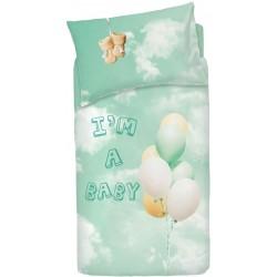 Completo Copripiumino Bassetti Imagine Little Baloon Verde Palloncini