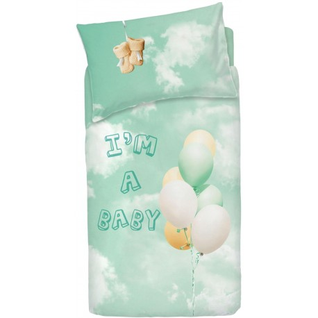 Complete Duvet Cover Set Bassetti Imagine Little Baloon V2 Green