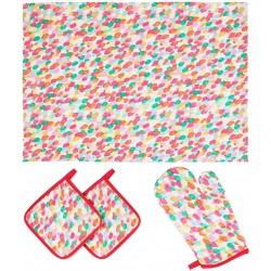 Kitchen Set Red Oven Glove Potholders And Dish Towels Contrast