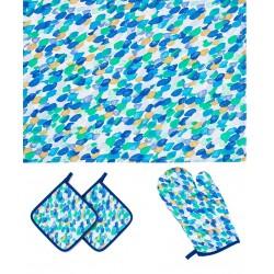 Set Cuisine Bleu Gant De Four Poignées Serviettes De Vaisselle Contrast