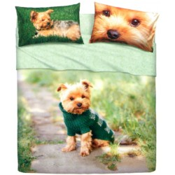 Complete Parure De Draps Bassetti Imagine Mr. Dog Chien Yorkshire Terrier
