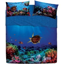 Complete Parure De Draps Bassetti Imagine Deep Dream Tortue De Mer