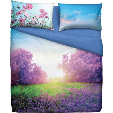 Complete Duvet Cover Set Bassetti Imagine Purple Summer V1