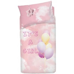 Complete Duvet Cover Set Bassetti Imagine Little Baloon V3 Pink