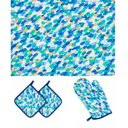 Kitchen Set Blue Oven Glove Potholders And Dish Towels Contrast